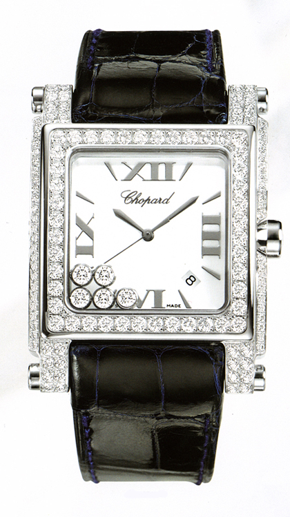 10. Chopard Happy Sport Square XL White Gold Watch – $56,600 - Most Expensive Chopard Watches Top 10