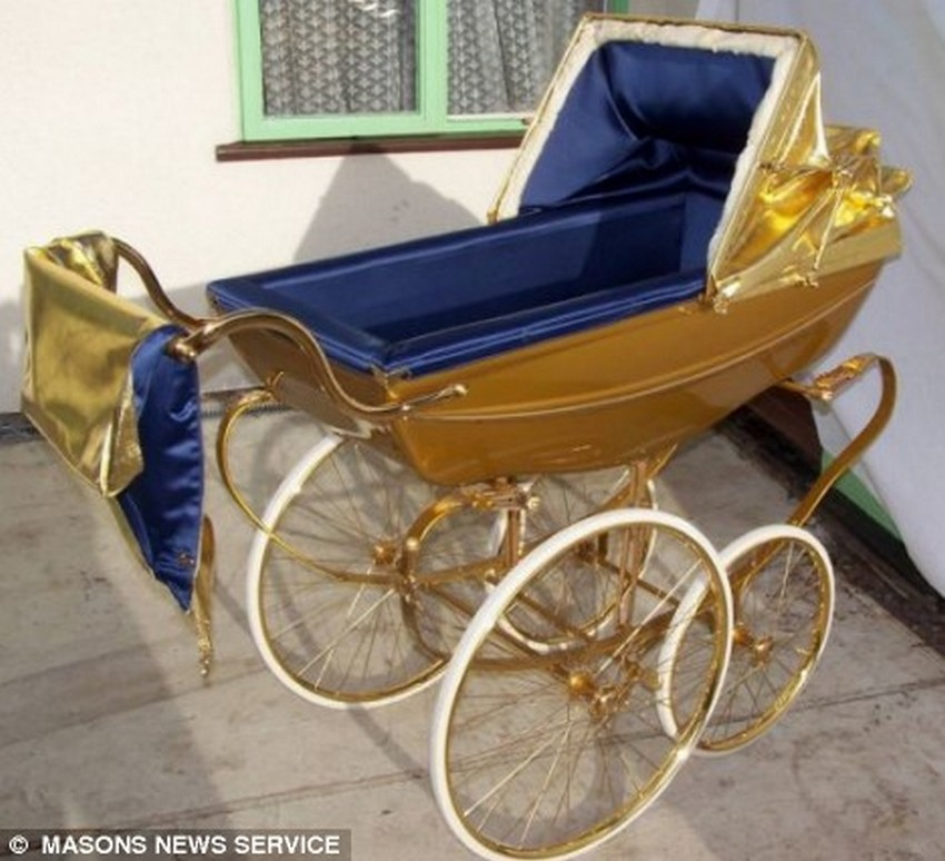 5. The Pram Plated With Gold Having Sound System Three - Price: $6,000 |