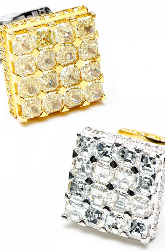Most Expensive Cufflinks in the World  TOP 10 N9. Jacob & Co. 2-Tone Left and Right Diamond Cufflinks $35,200 [source: cufflinks]