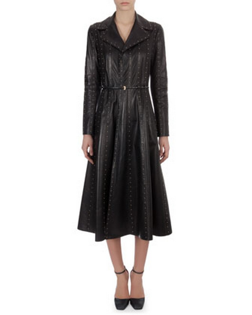 10. Long Studded Paneled Leather Trench Coatdress - Price: $9,990 | Most Expensive Valentino Dresses | Image Source: http://images.bergdorfgoodman.com/