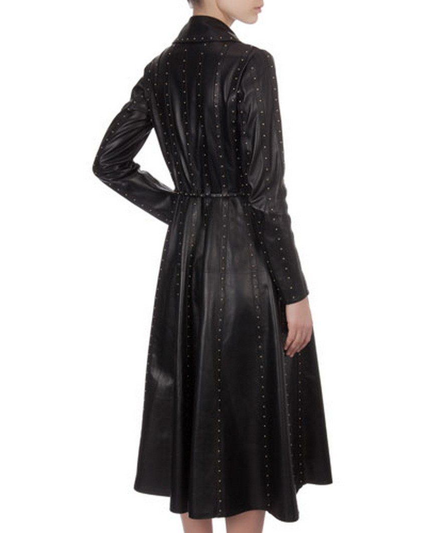 10. Long Studded Paneled Leather Trench Coatdress - Price: $9,990 | Most Expensive Valentino Dresses | Image Source: http://images.neimanmarcus.com/