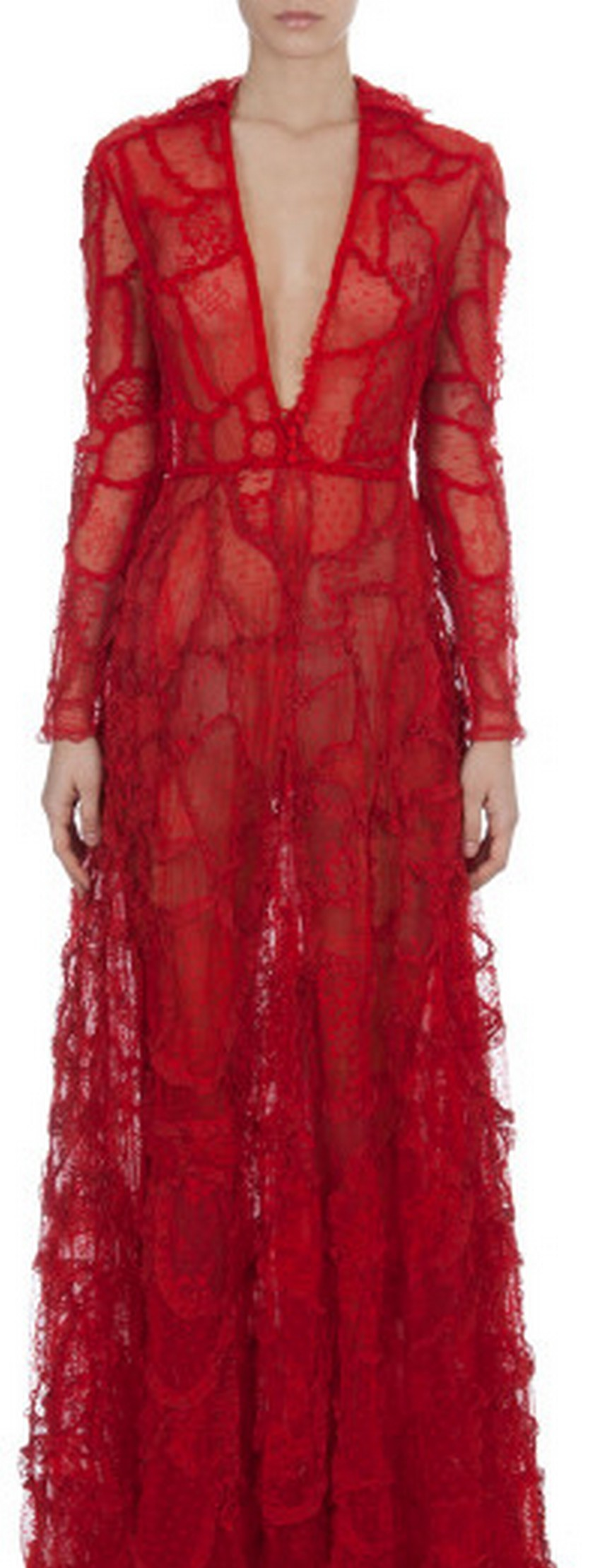 2. Long-Sleeve Deep-V Lace Patchwork Gown - Price: $24,000   Most Expensive Valentino Dresses   Image Source: http://cdnb.lystit.com/