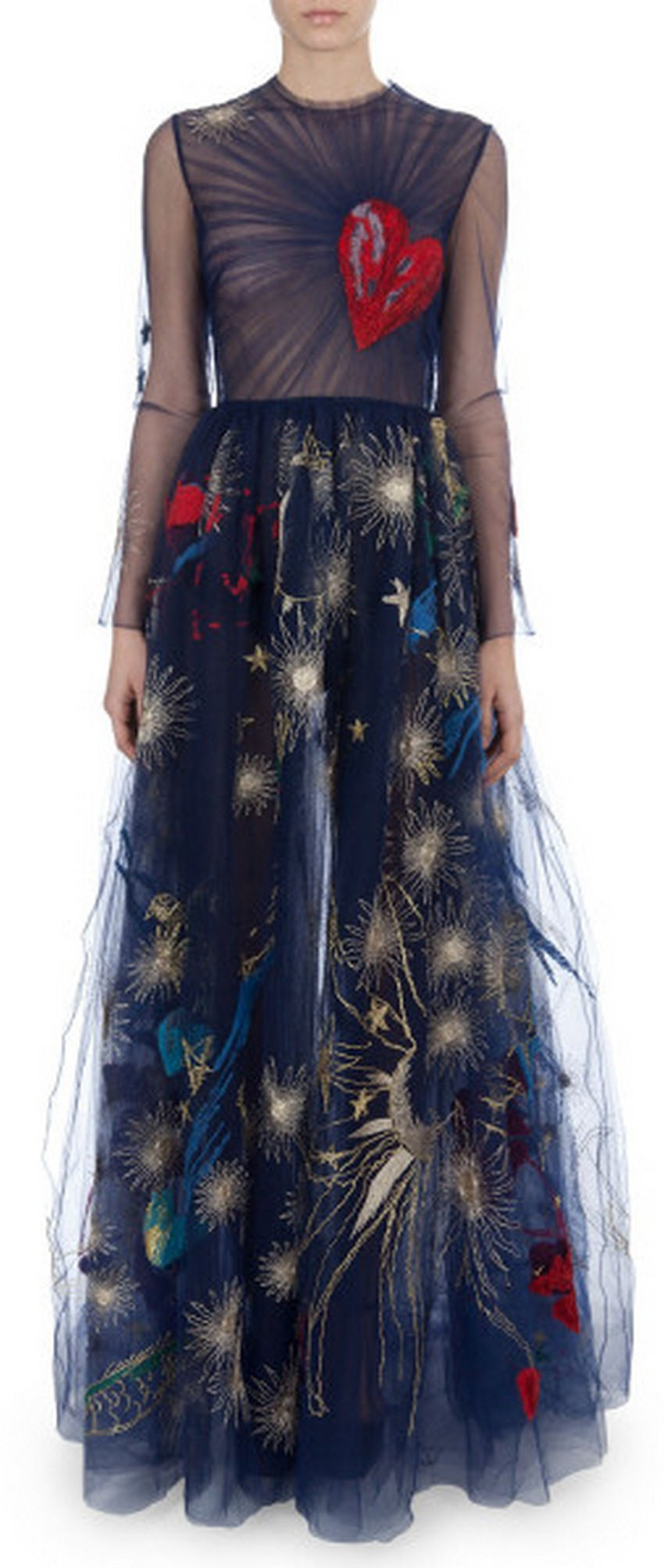 Long Sleeve Heart Embroidered Gown Price 16 900 Most Expensive