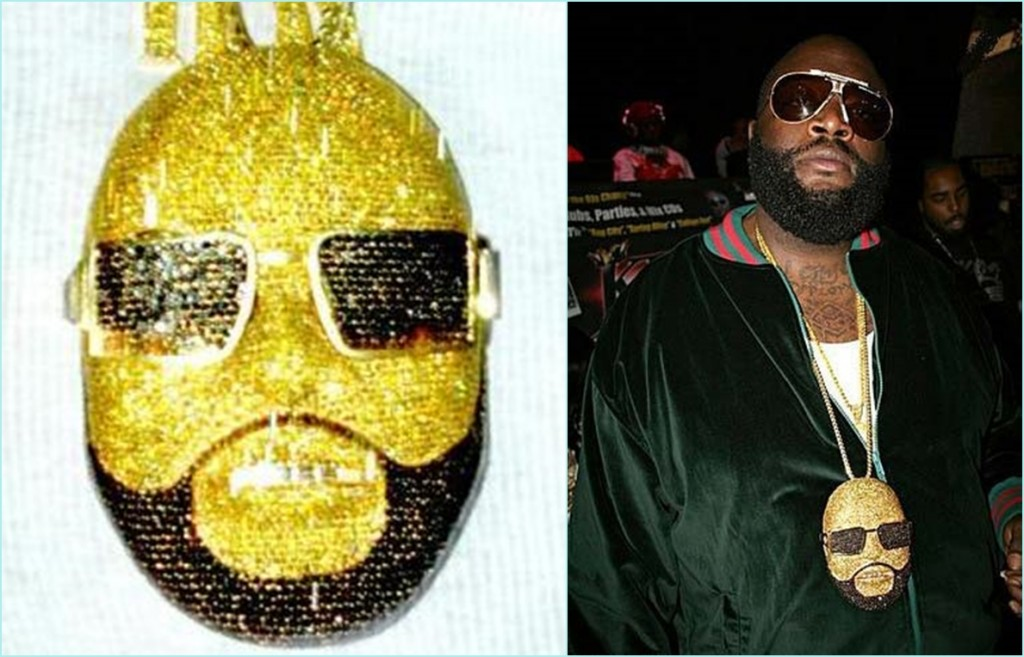 #1 Rick Ross 1.5$ million | Most Expensive Rapper Chains | Top 10 | Image Source :thatchainsocrazy.blogspot.com and infectedtube.com