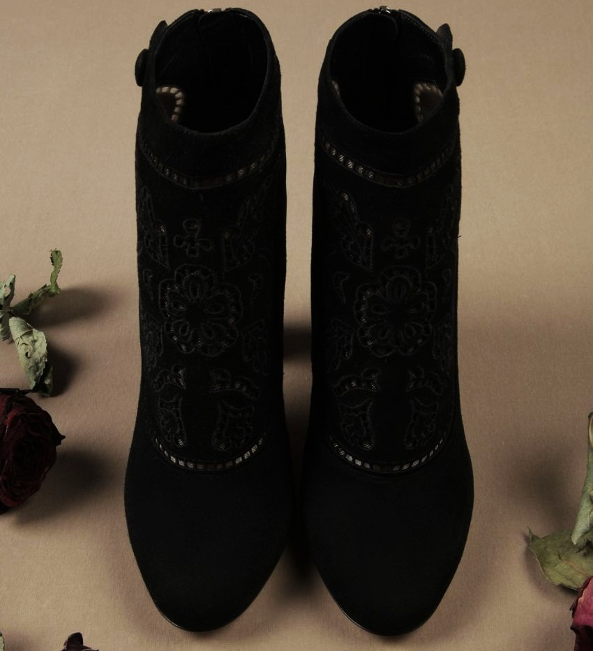 #10 Dolce & Gabbana Suede Cut-Out Vally Ankle Boots - Price $1.295 | Most Expensive Dolce & Gabbana Products for Women | Top 10 [ Image Source: store.dolcegabbana.com]