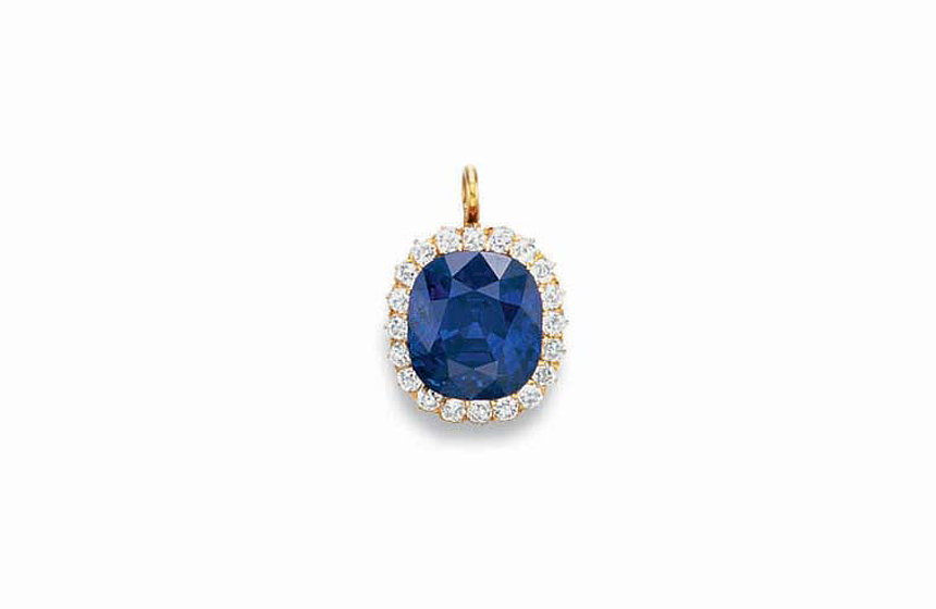 10 Most Expensive Sapphires Sold at Auction N10. An Antique 22.66 Kashmir Sapphire and Diamond Pendant – $3,064,000
