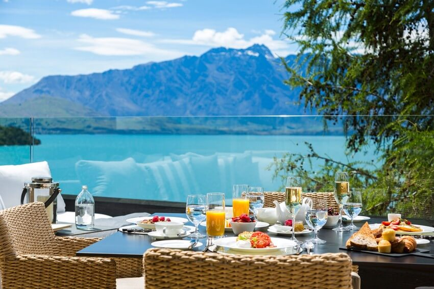 Spend Your New Zealand Vacation in this Unbelievably Stunning Hotel | Private Breakfast on the Main Patio
