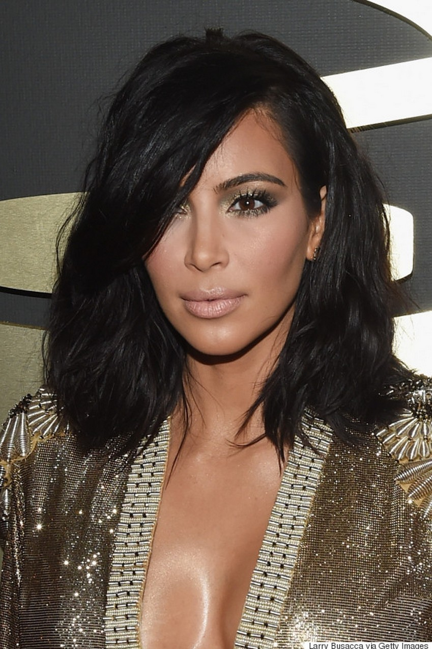 Kim Kardashian West | Beauty Trend Alert: Nude Makeup at the 2015 Grammys | Image Source: http://i.huffpost.com/