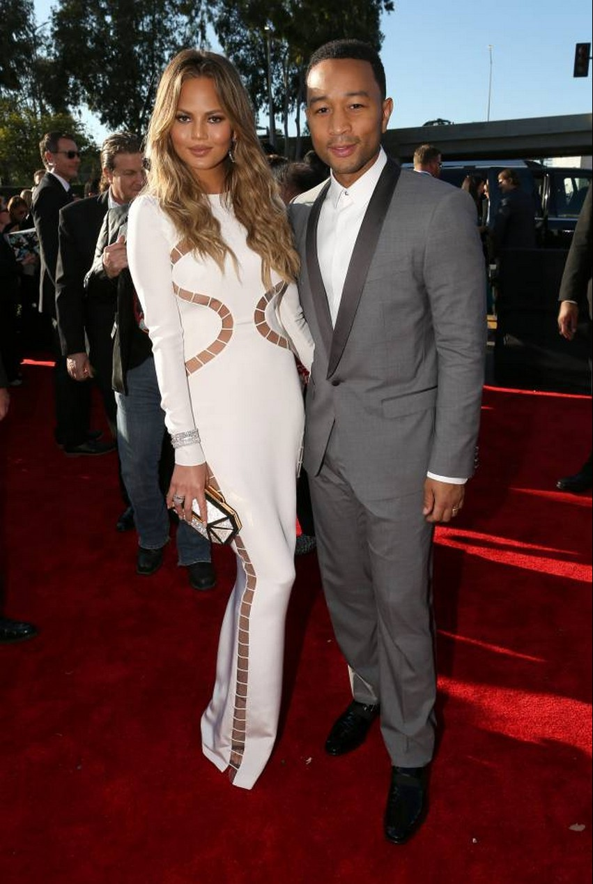 16. Chrissy Teigen and John Legend | Best Dressed Celebrities at the 2015 Grammys | Image Source: http://i.perezhilton.com/
