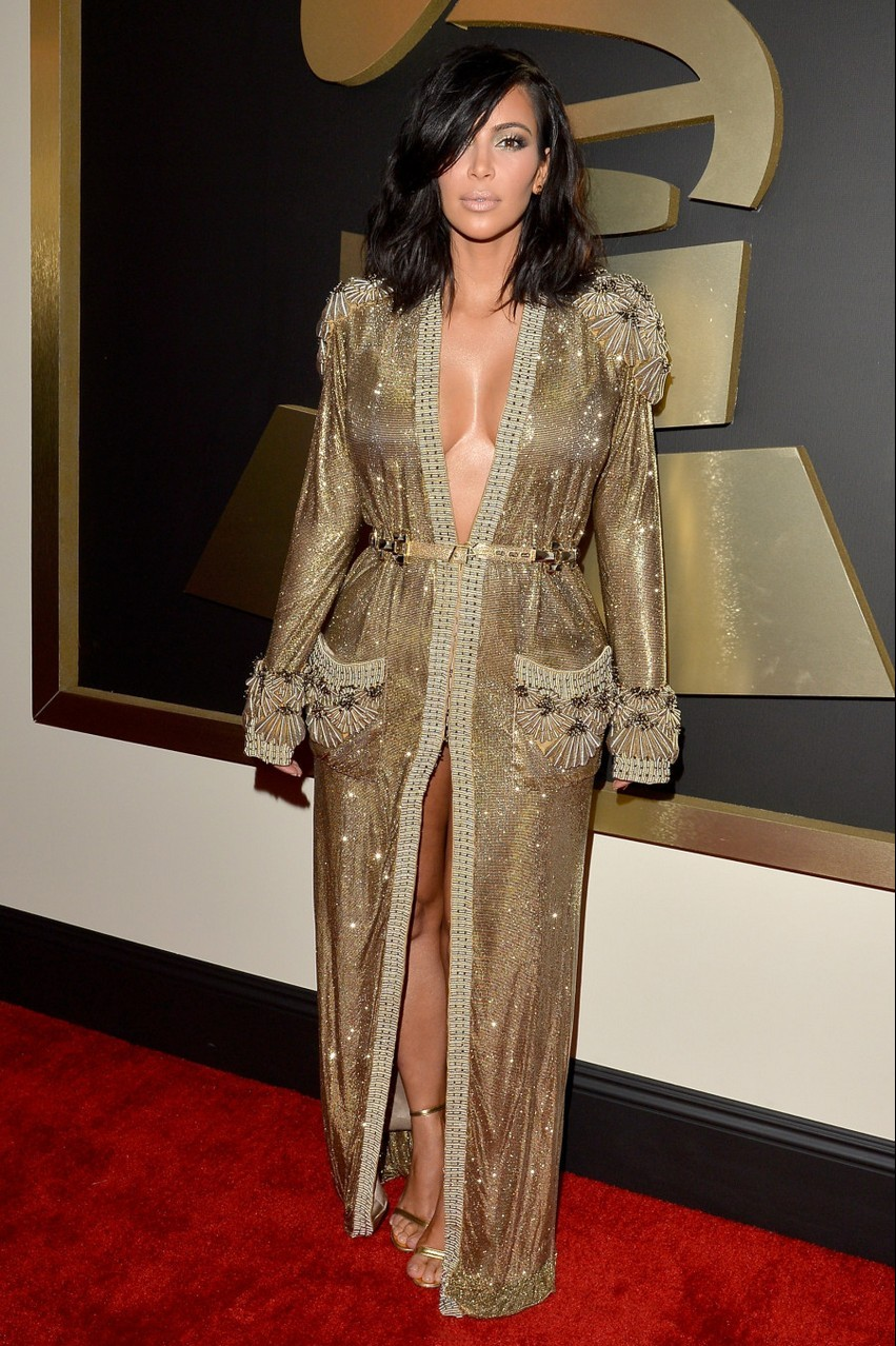 2. Kim Kardashian West | Best Dressed Celebrities at the 2015 Grammys | Image Source: http://i.huffpost.com/