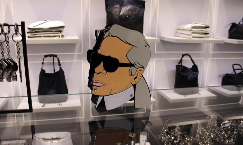 Karl Lagerfeld and Choupette as Cartoons in New Collection | Image Source: parisshanghaifashion.files.wordpress.com