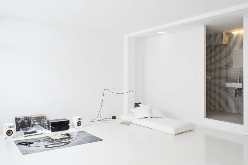 ... Minimalist All White Seaside Studio Apartment.