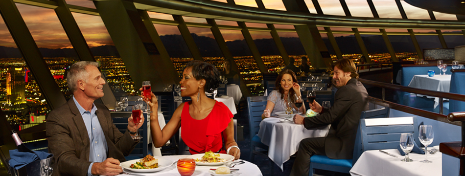 DINING AMONG GODS – TOP OF THE WORLD RESTAURANT – LAS VEGAS; Dining room;