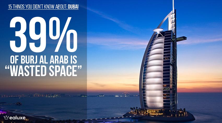 Here are 15 Things You Didn't Know About Dubai Thirty-nine percent of Burj Al Arab is wasted space