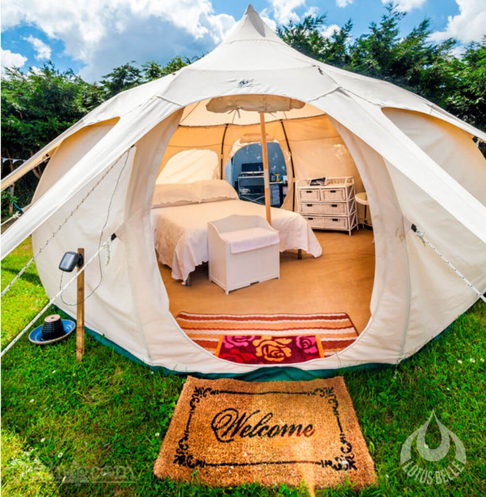 Go camping in style with these lotus belle tents ealuxe for Jaguar house music