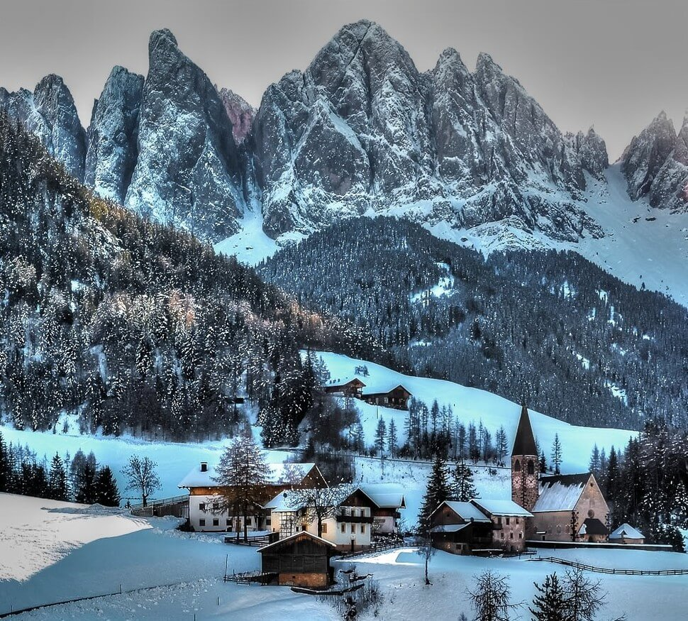 13. Funes, Italy    These 20 Photos of Winter Towns Will Make You Love Snow Even More