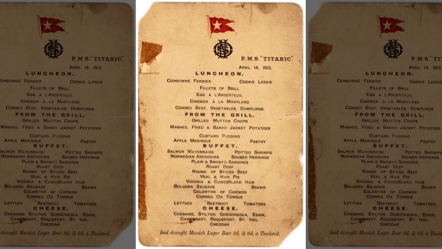 Titanic's Last Lunch Menu Will Be Auctioned This September