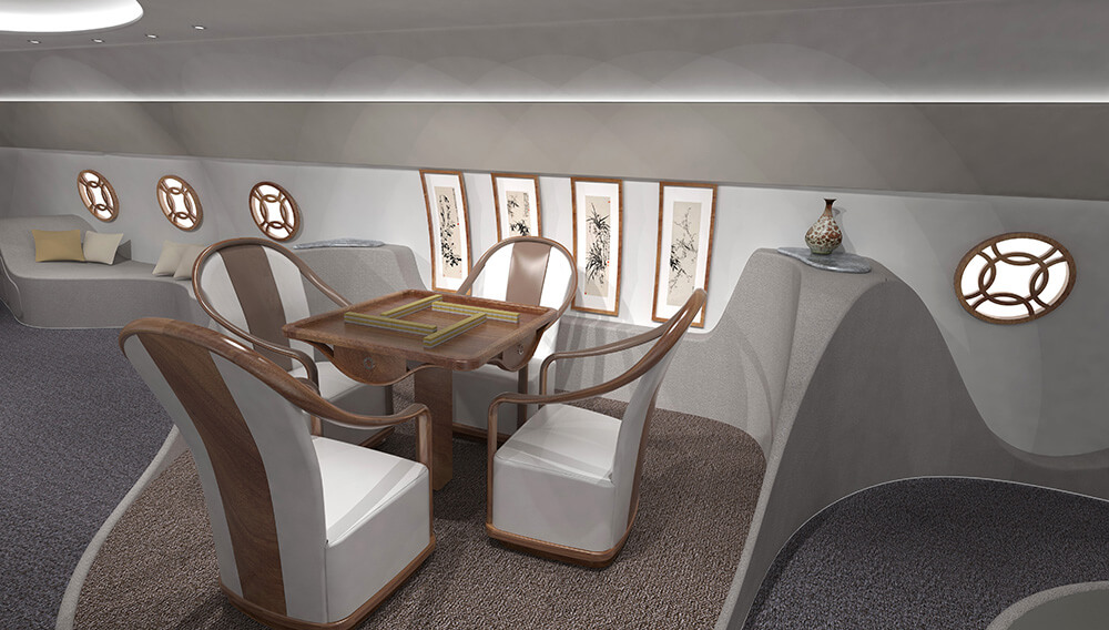 This Private Jet's Cabin is Inspired by Feng Shui and Taoism