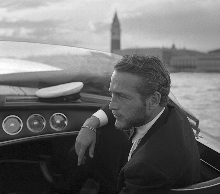 1963- American Actor Paul Newman During A Trip On A Water Taxi In Venice