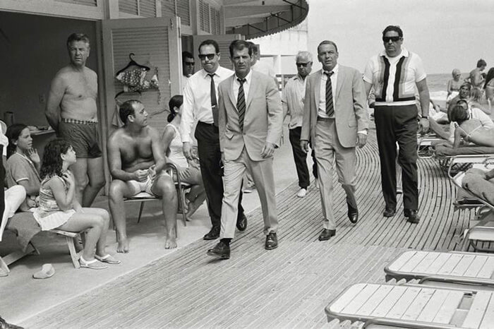 1968- Frank Sinatra Arrives At Miami Beach With His Entourage