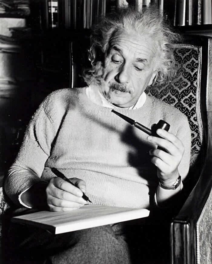 1940 - Albert Einstein Smoking A Pipe