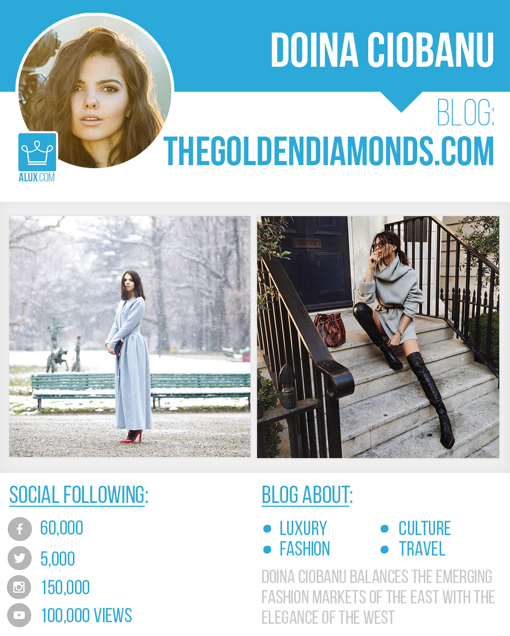 Doina Ciobanu The Golden Diamonds by Alux Social Profile Instagram Blog Youtube Twitter