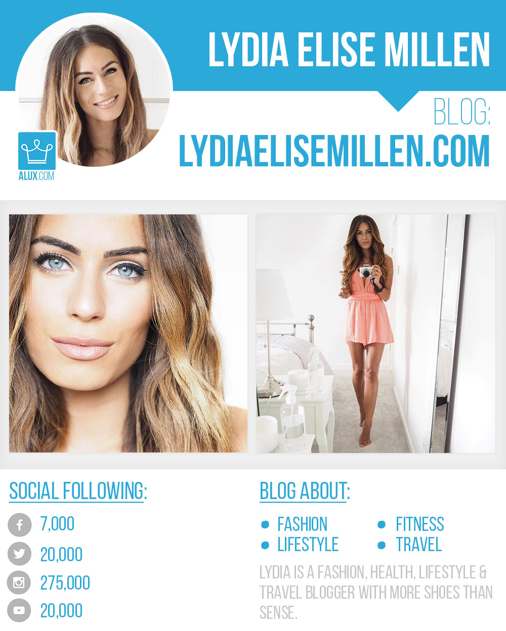 Lydia Elise Millen by Alux Social Profile Blog Instagram Facebook Twitter Youtube