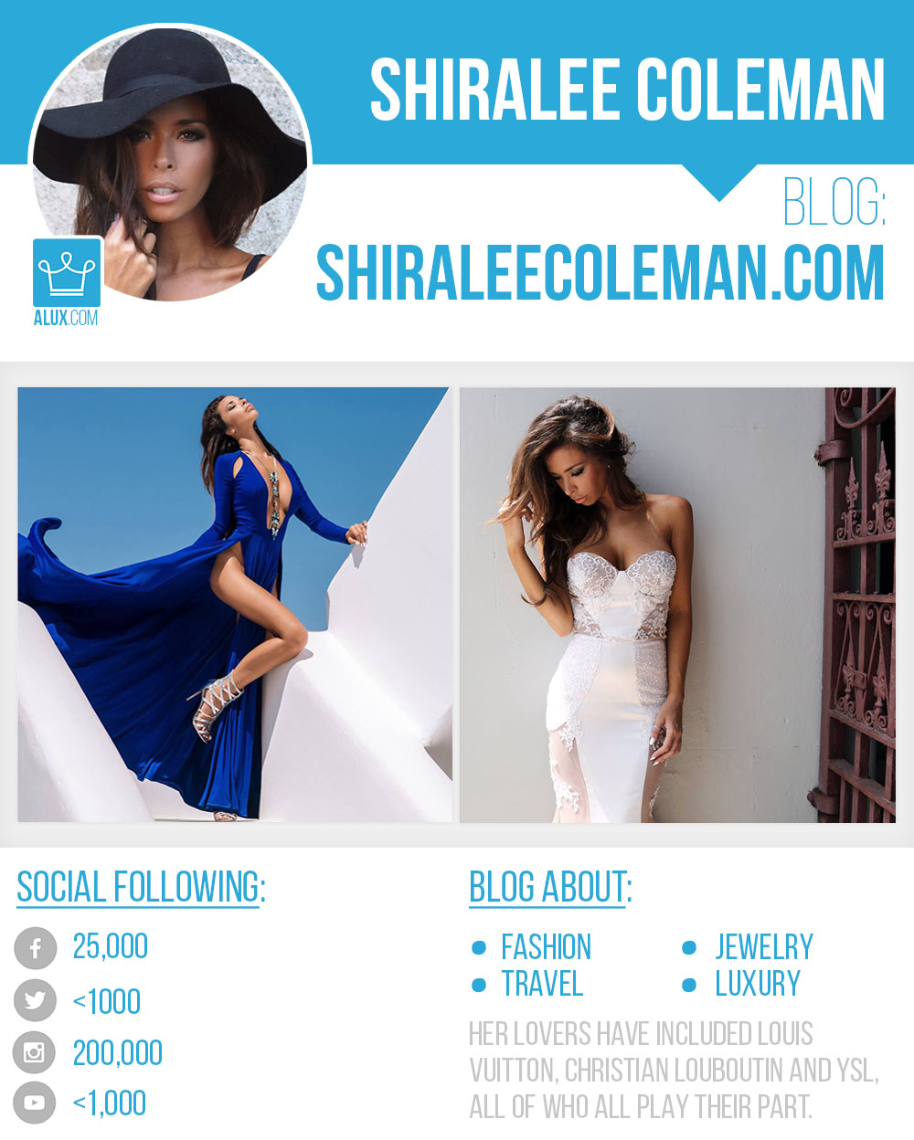 SHIRALEE COLEMAN blog instagram facebook twitter youtube by Alux