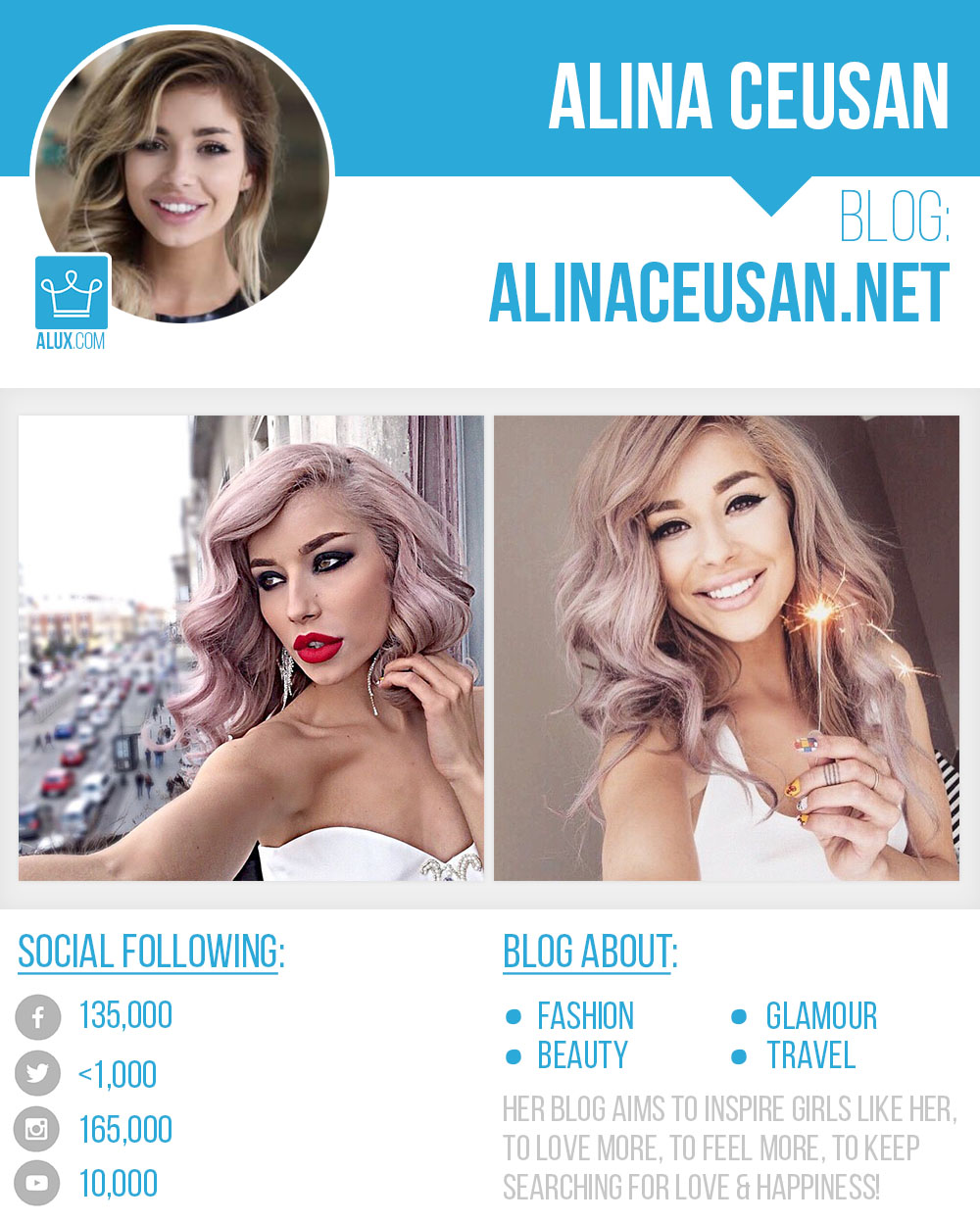 alina ceusan blog by alux social profile instagram twitter youtube followers