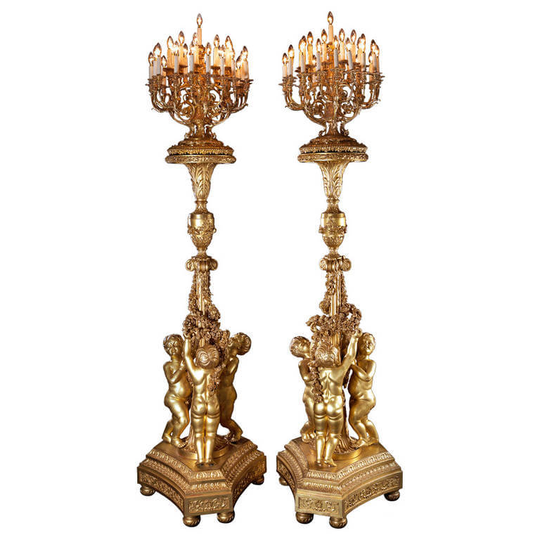 #8 18th Century Inspired Giltwood Torcheres | The Most Expensive Lamps In The World | Image Source :mukeshbalani.wordpress.com