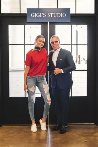Gigi Hadid and Tommy Hilfiger in the studio via nytimes.com