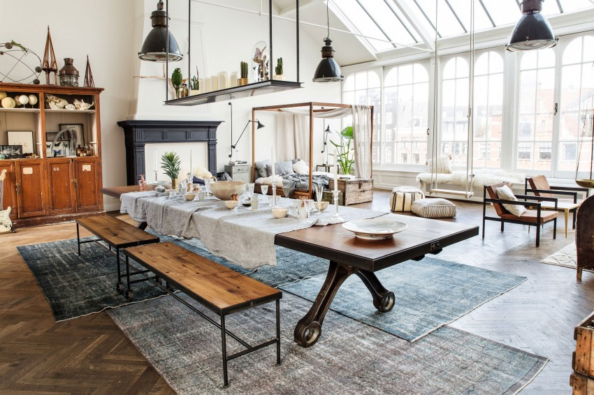This Industrial Style Loft Combines Vintage Elements in a Cozy Environment Playing Circle (4)