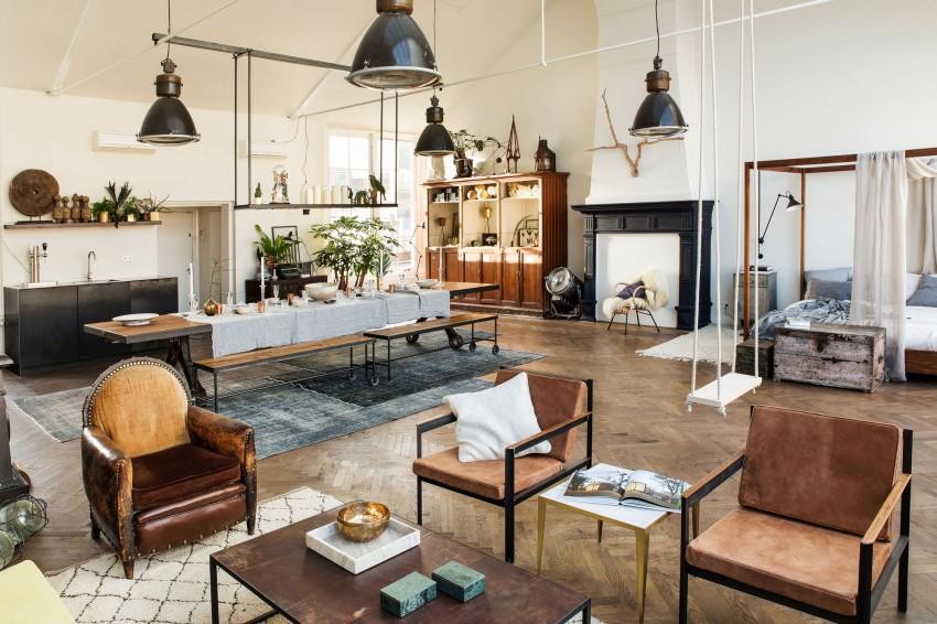 This Industrial Style Loft Combines Vintage Elements in a Cozy Environment Playing Circle (5)