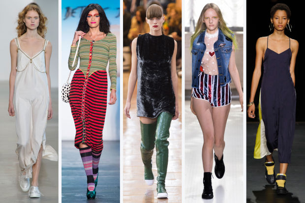 Fashion Trends For Spring 2016 | From left to right: Calvin Klein Collection, Betsey Johnson, Acne Studios, Giamba, and Rag & Bone