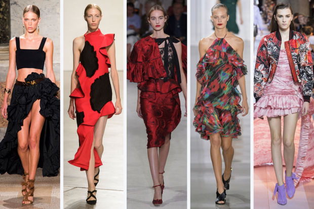 Fashion Trends for Spring 2016 | From left to right: Blugirl, Proenza Schouler, Oscar de la Renta, Osman, and Roberto Cavall