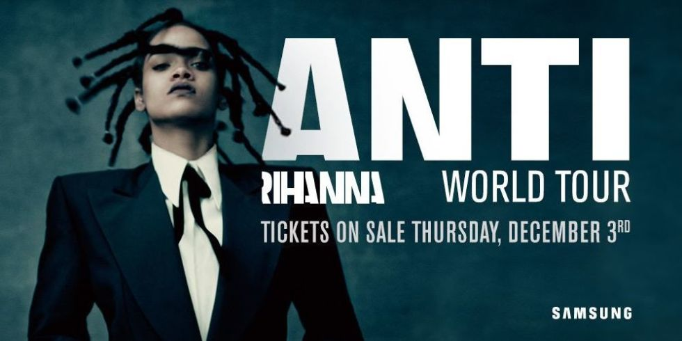Rihanna releases her new album, ANTI Album tour poster