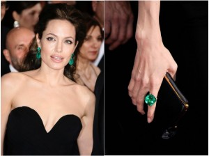 Most Expensive Oscars Jewellery Ever| Angelina Jolie wearing emerald drop earrings and emerald ring by by Lorraine Schwartz