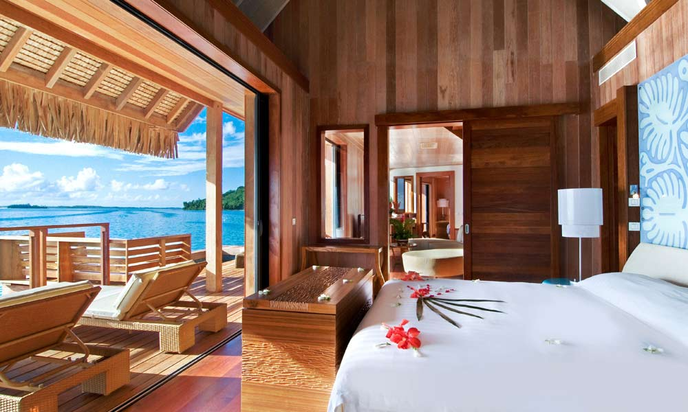 Kardashian's favourite luxury resorts Bora Bora bedroom