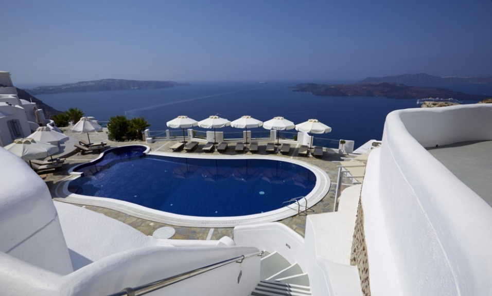 Kardashian's favourite luxury resorts Santorini pool