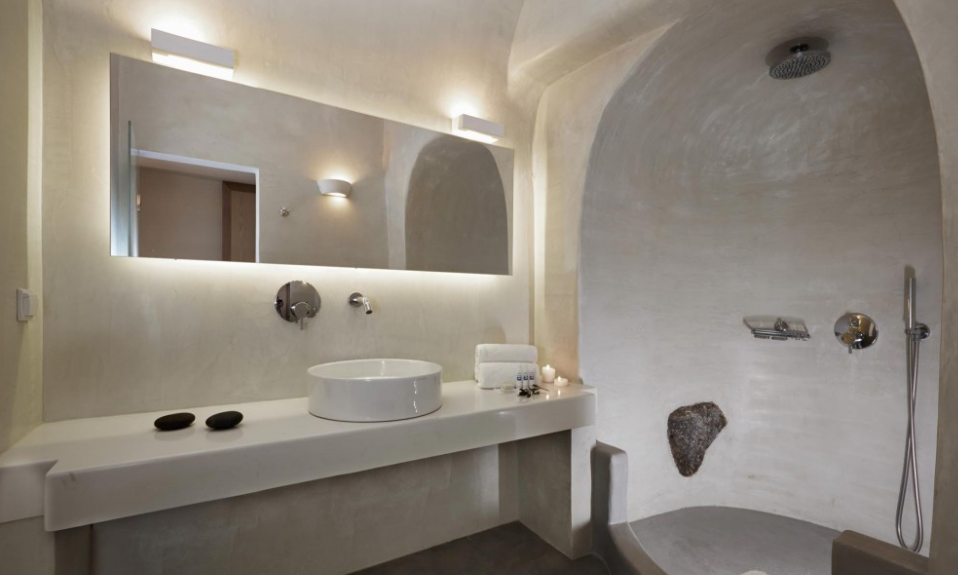 Kardashian's favourite luxury resorts Santorini bathroom