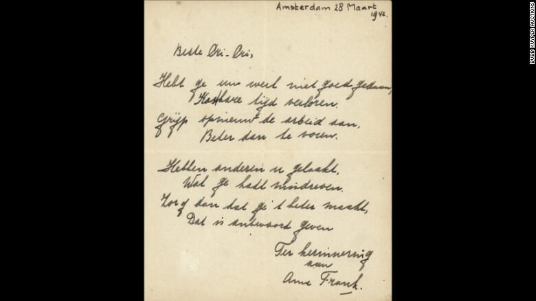 Poem Written by Anne Frank Sells for $148,000 at Auction