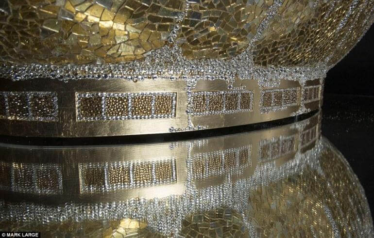 This Extravagant Gold Crystal Bathtub is encrusted with 250,000 Crystals