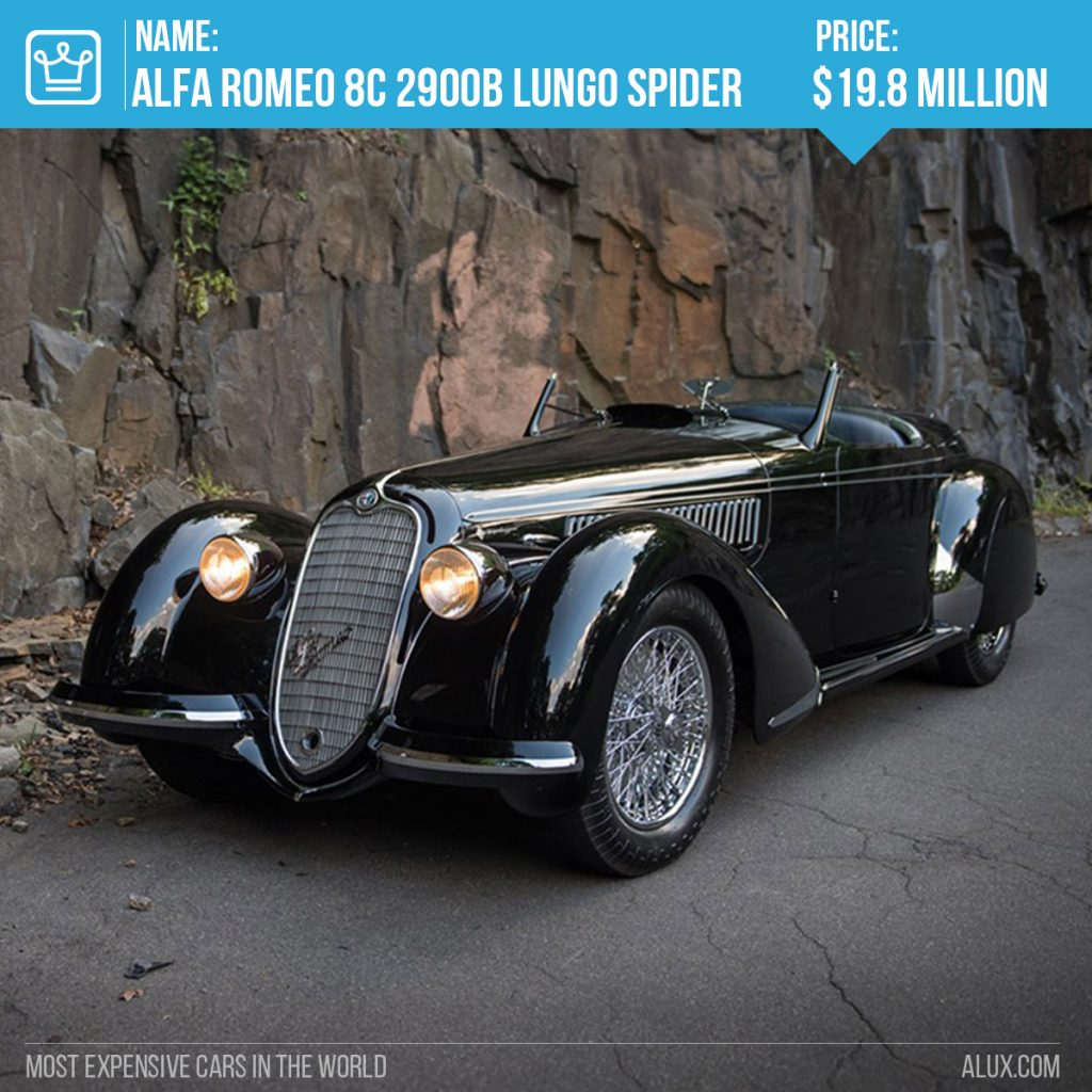 9 - most expensive cars in the world - 1939 Alfa Romeo 8C 2900B Lungo Spider alux