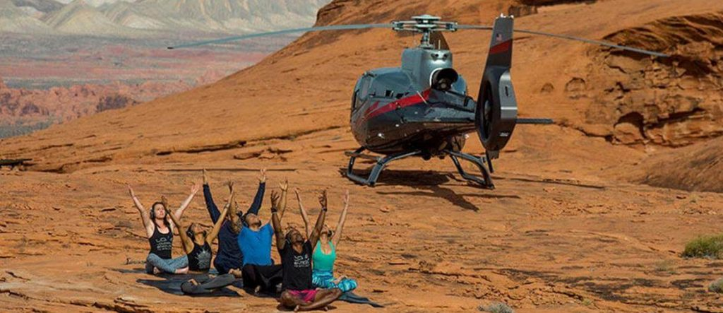 The First-of-Its-Kind HeliYoga Experience is Possible because of Maverick Helicopters & Silent Savasana