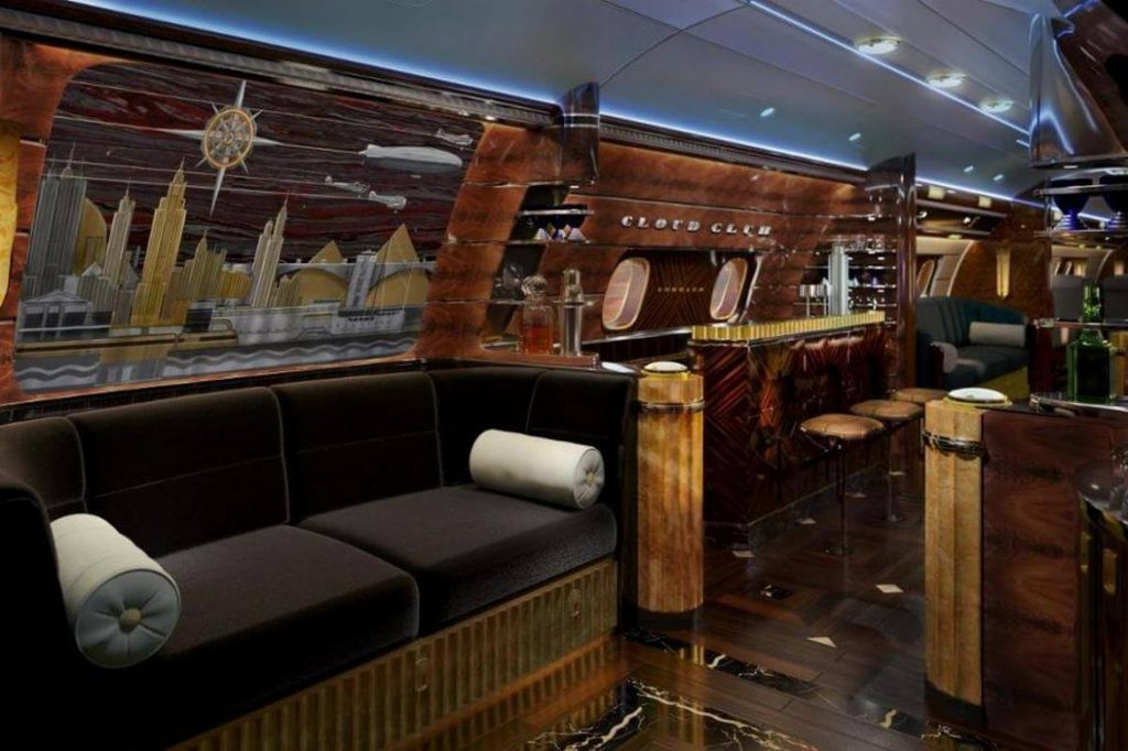 see inside embraer s 80 million bespoke jets with art deco interiors inspired by the 1920s and. Black Bedroom Furniture Sets. Home Design Ideas