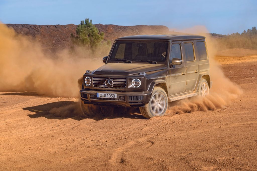the new g-class mercedes 2018 in the dust
