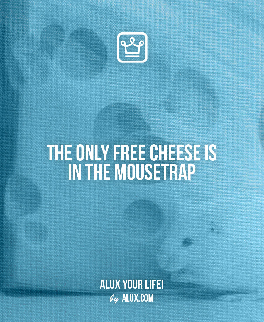 the only free cheese is in the mouse trap - alux quote - uncomfortable ideas